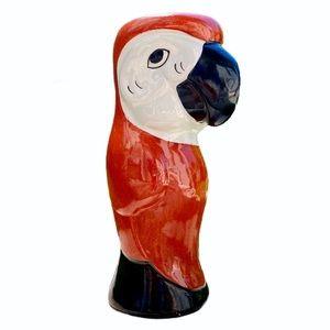 """Vintage 🦜 8"""" Ceramic Bird Macaw Parrot Tiki Vase"""